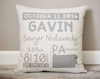 Birth Announcement Pillow | Personalized Baby Pillow | Gift for New Mom | Baby Stats Pillow | Rustic Decor | Nursery Decor | Baby Boy Gift