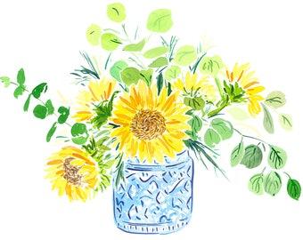 Sunflowers in Blue Vase Print