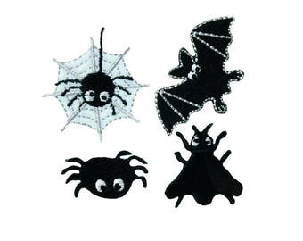 Patch/Ironing-Set Halloween-black/white-various sizes-by catch-the-Patch ® patch appliqué applications for ironing application patches patch