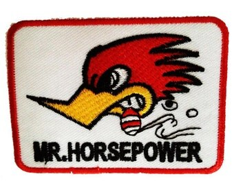 Patch/Ironing-Mr. Horsepower Racing-White-7.5 x 5.5 cm-by catch-the-Patch ® patch appliqué applications for ironing application patches patch