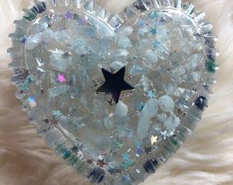 Heart Trinket Box, Resin Trinket Box, Aquamarine Heart Resin Trinket Box, Handmade Trinket Tray, Trinket Box Small, Trinket Box
