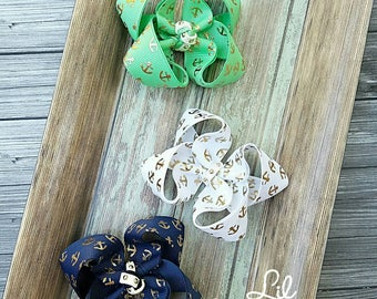 Gold anchor bow trio,hairbows, hairbows for girls, toddler girl bows, baby bows, nautical bows, twisted boutique bow, boat hair don't care