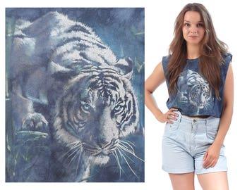 CROPPED TIGER Tank Top Wild Animal Print Shirt Batique Navy Blue Green White Cotton Cut Off Raw Edges Cropped Medium to Large