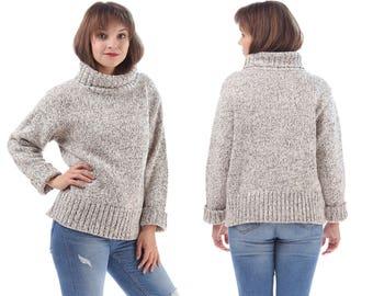 Boyfriend Sweater 80s Turtle Neck Grunge Simple Knit Grey SPECKLED Soft Acrylic Chunky Pullover 1990s Jumper Normcore Minimalist Medium
