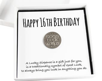 Happy 16th Birthday Lucky Sixpence Keepsake Gift, Good Luck Present, Lucky Coin