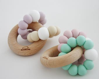 Silicone & Wood COTTON Baby Teether - Mordedor - Chupetero - hochet - Beißring