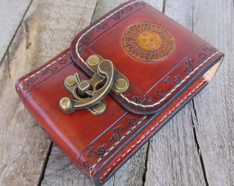 Tarot leather Deck Box Sun Moon Tarot bag Original Rider Waite Tarot leather case Leather pouch Tarot Card holder Leather bag Antique Brown