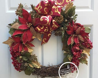 Christmas Wreath, Holiday Wreath, Poinsettia Wreath, Red Wreath, Front Door Wreath, Wreath Street Floral, Grapevine Wreath, Door Wreath