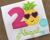 Pineapple Birthday Shirt / Pineapple Applique / Girl Pineapple Birthday / Personalized Pineapple / Aloha Birthday / Summer Birthday /
