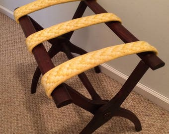 Vintage luggage stand, luggage rack, yellow luggage rack, travel storage, guest room decor