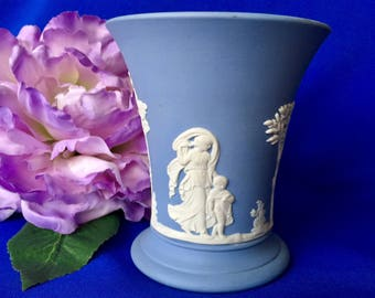 Vintage Wedgwood Blue Jasperware Posy Vase, Vintage Wedgwood Trumpet Vase, Vintage Jasperware Vase, Vintage Blue Jasperware