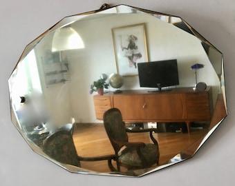 Vintage 1950s 60x42cm beveled mirror