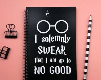 Writing journal, spiral notebook, sketchbook, bullet journal black blank lined grid, Harry Potter - I solemnly swear that I am up to no good
