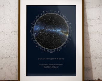 Custom Star Map | REAL Night Sky | Night Sky Map | Constellation Poster | Constellation Map | Personalized Gift | Unique Gift | Custom Gift