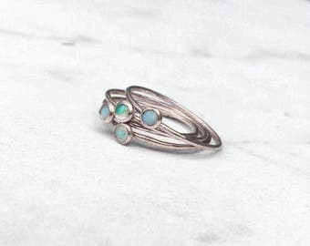 Opal Stacking Ring, Silver Tiny Opal Ring, Stackable Ring, October Birthstone Ring, Genuine Opal Ring, Silver Opal Ring, White Opal Ring