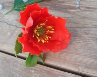 Red poppy flower hair pin, porcelain floral hair pin, cold porcelain, polymer clay flower, gift for her, ceramic floristry, red poppy, poppy