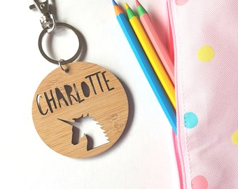 Unicorn Bag Tag / Keyring Wood Bamboo Personalised Custom-school-kinder-wooden
