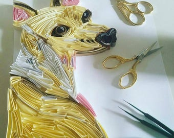 Custom Italian Greyhound Quilling Portrait