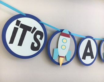 Rocketship Its A Boy Banner | Spaceship Banner | Baby Shower Banner | Spaceship Baby Shower
