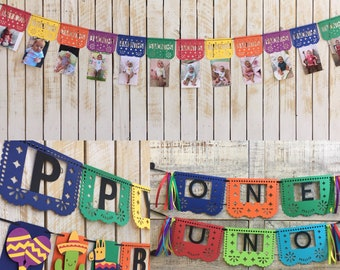 First Fiesta Birthday Banner Kit | First Birthday Decorations Package | Papal Picado Banners