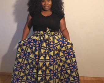 Blue Pinwheel African Print Maxi Skirt / Plus Size / African Fashion / African Clothing / Just Skirting By / JustSkirtingBy / Dashiki Skirts