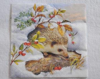 "Christmas theme napkin ""Hedgehog"""