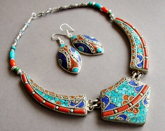 Nepali necklace, turquoise necklace,Bohemian jewelry, Tibet amulet, Gypsy jewelry, Coral vintage necklace, Vintage necklace, beaded necklace
