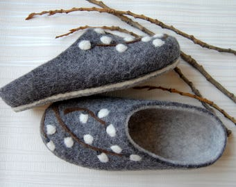 Felted wool slippers_Womens slippers_size: US 5; EU 36; UK 3,5