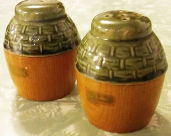 Green Ceramic and wood vintage salt and pepper shakers with original stoppers