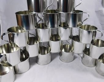 Classic Non-Embossed Tin Cup Metal Western Coffee Mug Light Weight Lot of 20 Drinking Glasses