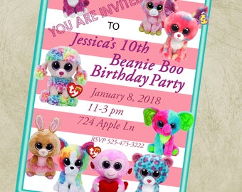 Beanie Boo Birthday Party Invitation, 5x7 inch High Resolution JPG image