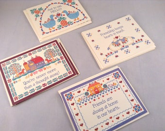 Vintage Folk Art Stationery Set