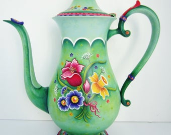 346 Spring Bouquet Teapot,Decorative Painting Pattern Packet,Flowers, Spring Colors