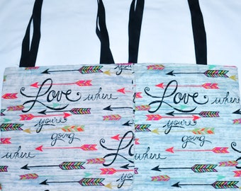 Nerditotes Handmade Handsewn Love Where You're Going  Tote Bag