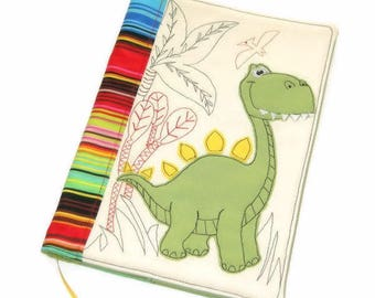 Dinosaur Fabric Book Cover, Textile Notebook Case, Reusable Journal Cover, Handmade Embroidery, Travel Journal, Gift for Kids