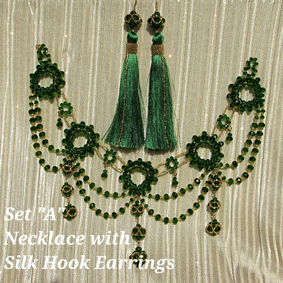 Emerald Shoulder Necklace Green Statement Wedding Collier Bohemian Jewelry Crystal Collar Gold Silver Vintage Boho Choker Chunky