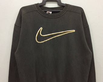 "Vintage Nike Swoosh Sweatshirt Jumper Big Logo Black Color Medium Size Chest 24.5"""