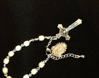 White and silver rosary bracelet