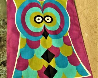 Vintage Irish Linen, Irish wall hangings, 1960's art, owl items,