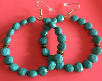 Teal beaded earrings light weight