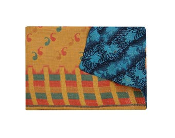 Reversible Indian Cotton Sari Throw Vintage Kantha Blanket