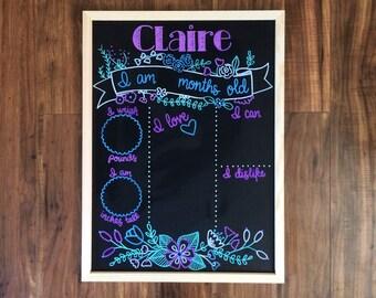 Monthly Milestone Chalkboard/Magnet Board