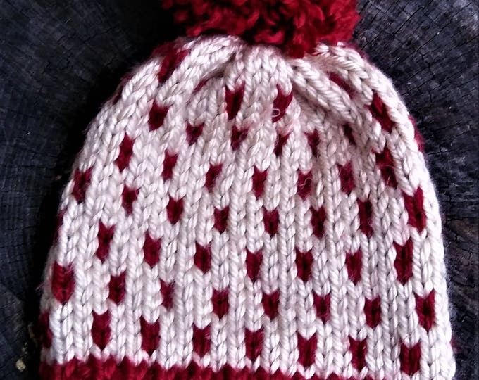 Red and Cream Chunky Knit Fair Isle Pom Pom Beanie Hat  (CHOOSE YOUR COLORS)
