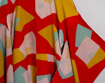 Second hand juban, garment worn under kimono, Japanese vintage juban for women, Red, Genjiko