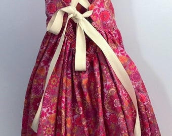 7th Birthday dress ,Pink flower dress,summer dress ,farm dress