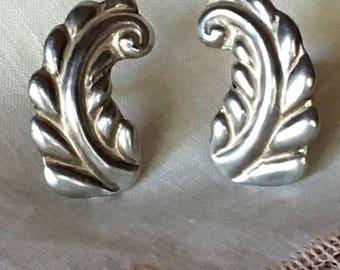 Taxco Mexico Earrings, Sterling Silver Screw Back Earrings, Antonio Reina-marked, 1940's Vintage Jewelry