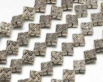 50pcs Antique Silver Square Knot Spacer Beads Tibetan Style 7x4mm Hole 1mm