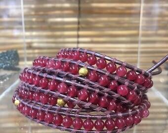 Gemstone wrap bracelet,