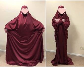 Plus size burgundy silk khimar , muslim jilbab dress, elegant Burqa, Wedding Abaya, traditional hijab, Elegant hijab, Long burqa