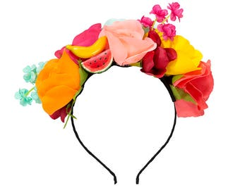 Tropical Floral Headband, Fruit Headband, Tropical Party Dress Up, Tropical Headband, Tropical Party Props, Photo Booth Props, Summer Party